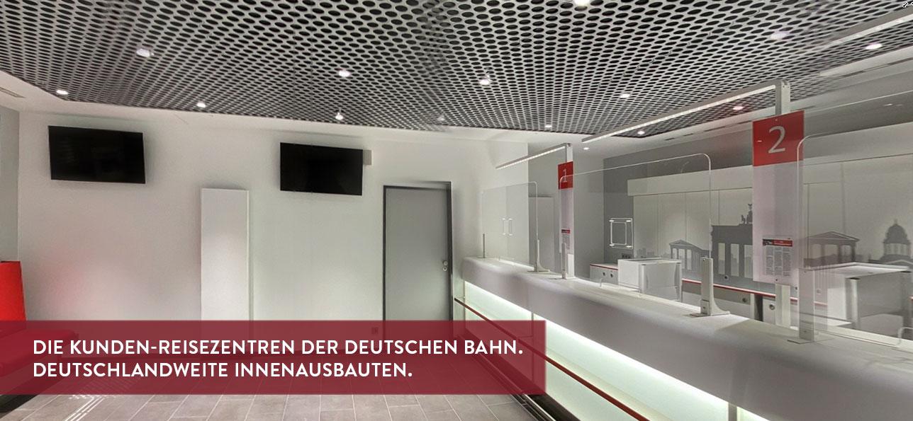 Die Kunden-Reisezentren der Deutschen Bahn. Deutschlandweite Innenausbauten.
